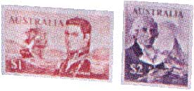 The Matthew Flinders $1 stamp and the George Bass $2 stamp, both issued in 1966 for Decimal Currency