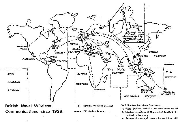 map showing British Naval Communications world wide in 1938