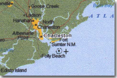 Map of Charleston area showing locations of Housatonic and Hunley
