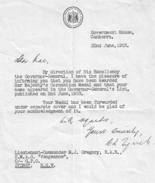 Queen's Medal letter