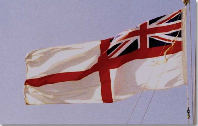 The British White Ensign worn by all the Town Class Destroyers after transferring to the Royal Navy