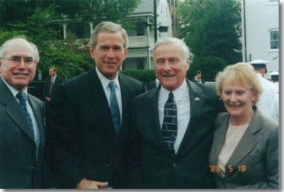John Howard, George Bush, me, and Denise. 2001