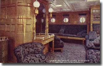 Picture of Ladies Deck Cabin on board SS Anglia prior to her conversion to an Auxiliary Hospital Ship