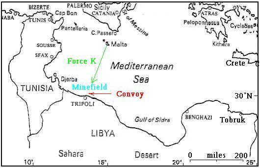 Route from Malta to Tripoli taken by Force K on the night of the 18th of December 1941.