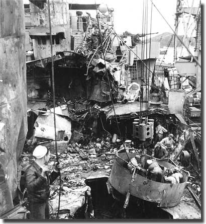 Damage to a US Navy ship at the invasion of Okinawa by Kamikaze aircraft