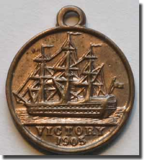 The rarer version of the HMS Victory Medalets showing the port side of HMS Victory