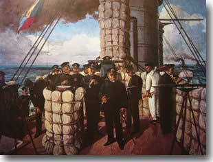 Admiral Togo on the bridge of Misaka at the battle of Tsusima Strait