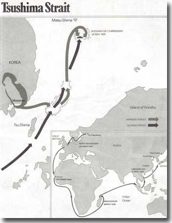 Map showing the route taken by the Russian Fleet from St Petersburg to Tsushima Strait, Masampo Bay in South Korea was Togo's Base, from here he led his forces to attack the Russians, and achieve a remarkable victory
