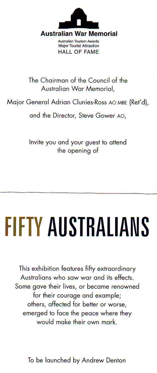 Our invitation to the Launch of the 50 AUSTRALIANS exhibition by Andrew Denton