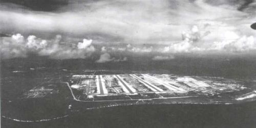 Tinian Island with its 4 runways. From this strip the aircraft carrying the two Atomic Bombs took off.