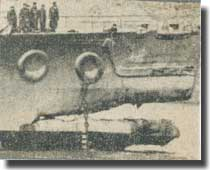 Damage to bows of HMS King George V after colliding and sinking HMS Punjabi on the 1st. of March 1942