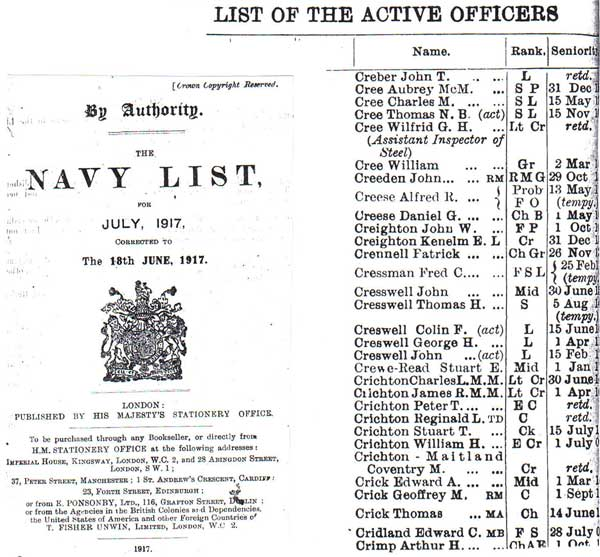 July 1917 Royal Navy, Navy List from Daniel at the British Library in London