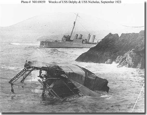 Wrecks of USS Detroyers Delphi, and Nicholas at Honda Point 1923