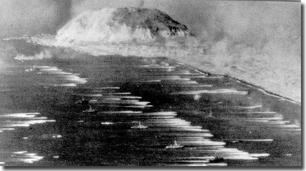 Iwo Jima, one of the largest seaward invasions of the Pacific War