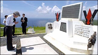 Japanese Prime Minister visits Iwo Jima in June 2005.