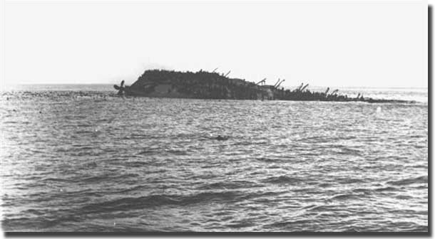 HMT Lancastria, in her final agony.