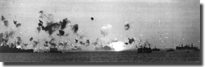 The task force off Okinawa under Kamikaze attack