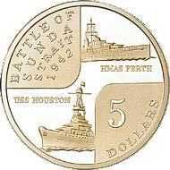 $5 coin minted to commemorate the 60th. Anniversary of the sinking of HMAS Perth, and USS Houston