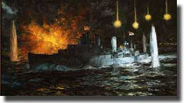 Dennis Adams painting: HMAS Perth in the Battle of Sunda Strait 28th. February 1942.