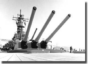 The mighty 16 inch guns of USS Missouri