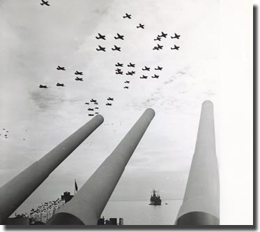The fly past USS Missouri, Tokyo Bay Sunday the 2nd. of September 1945