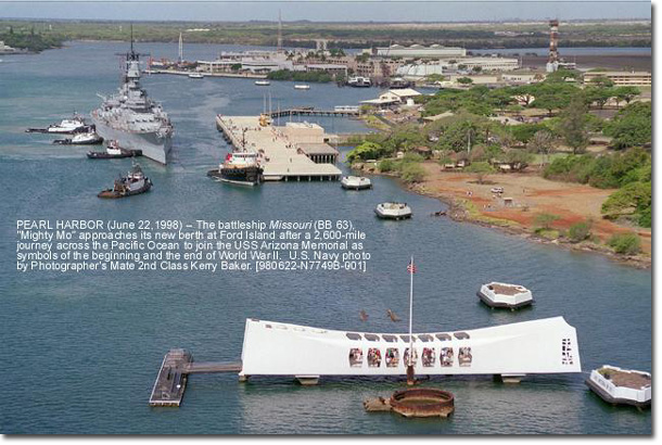 USS Missouri ends her journey from the US to reach her final destination, close to the Arizona Memorial. Two symbols representing the beginning and end of the Pacific War.