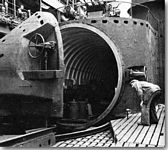 The huge hangar door open on the deck of an I-400 class Japanese Submarine - click to learn more