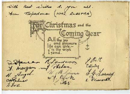 Xmas Card sent to phil's family by the Torpedoman's Mess Christmass 1940