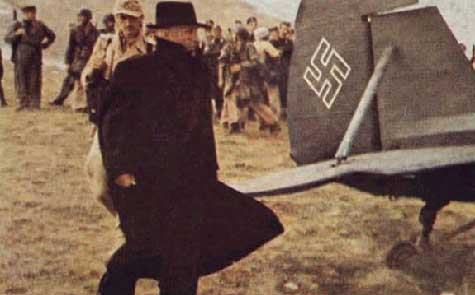 Mussolini's liberation on 12 September 1943 as he prepares to fly out in General Kurt Student's personal Feisler Storch, the German equivalent of the American Piper Cub.