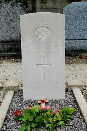 grave of B.BATESON Assistant Steward NAP (MN) who served on HMS Voltaire