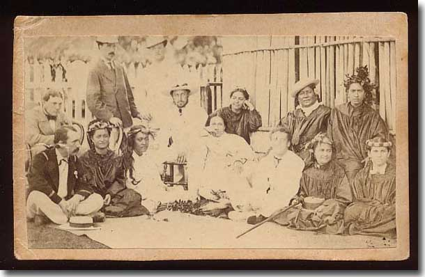 The Duke of Edinburgh, front left, visits Royalty ( Tahitian ladies ) in 1870