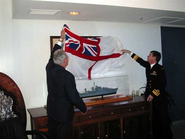 Uunveiling the Shropshire prints in the Shropshire Room at HMAS Kuttabul