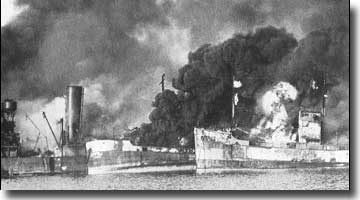 Allied ships burn at Bari, December 1943