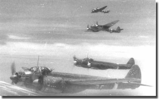 A flight of German JU 88's in the raid on Bari, December 1943