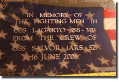 The memorial plaque placed on the stern of Lagarto