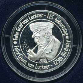 Medal issued by the von Luckner Society to mark his 125th. birthday front