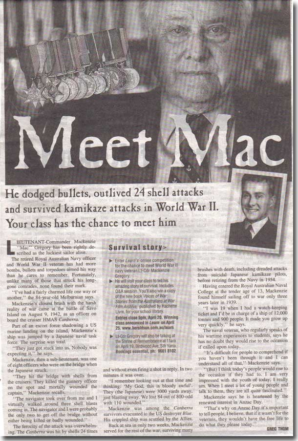 Ahoy - Mac's Web Log - Meet Mac newspaper article