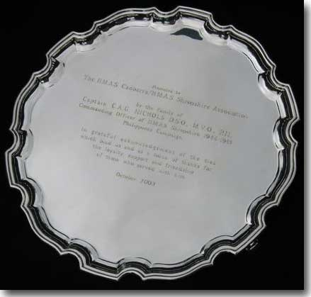 Silver Salver presented to HMAS Canberra / Shropshire Association in Queensland by the family of her Commanding Officer Captain CA G Nichols, DSO, MVO, Royal Navy