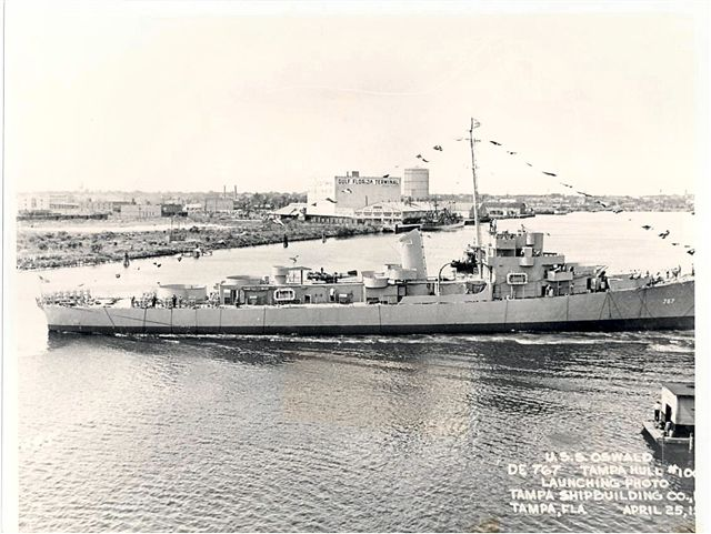 Launching photo of USS OSWALD
