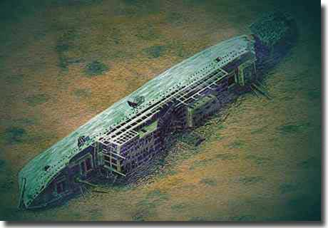 The wreck of Leopoldville found in 1984 by Clive Cussler