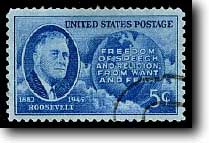 Franklin Roosevelt, died 1945. US postage stamp to honour him