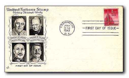 First day Cover. Victory through Unity 1943