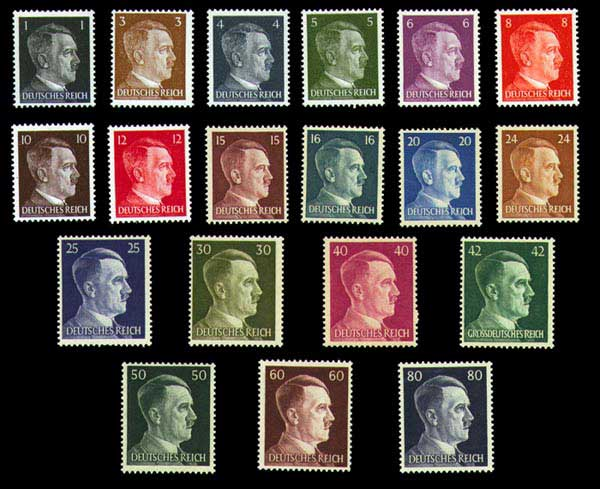 Hitler Head stamps issued by Germany