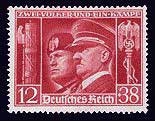 Hitler and Mussolini on a Stamp issued by Germany