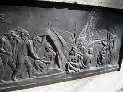 Burke and Willis Right side panel - indigenous Australians attempt to assist the Europeans.