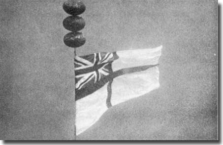 The White Ensign attached to the port inner shaft of the HMS Repulse, ninety feet (30 m) down in the South China Sea