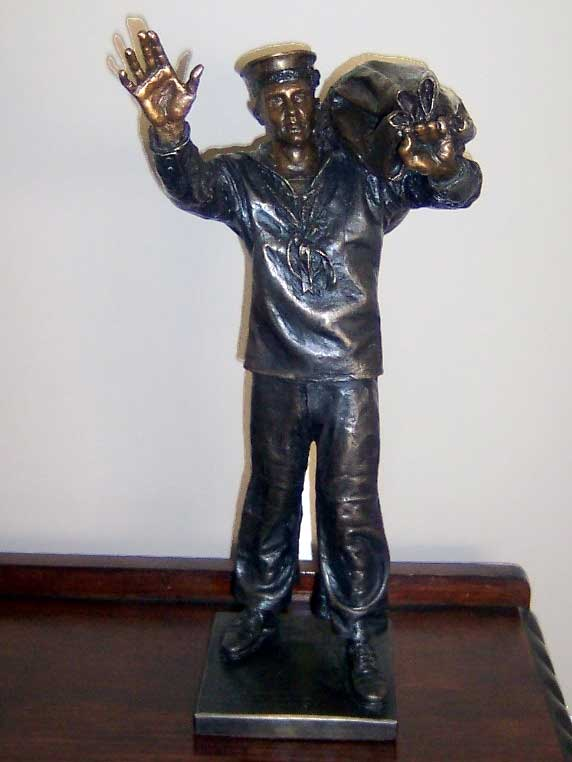 "15 inch bronze model of "" Answering The Call "" statue."