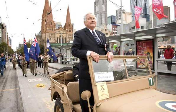 Mac Gregory Melbourne 2009 Anzac Day March from a WW2 Jeep