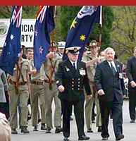 Mackenzie J Gregory leading Anzac Day Melbourne 2009 parade - Click to read more