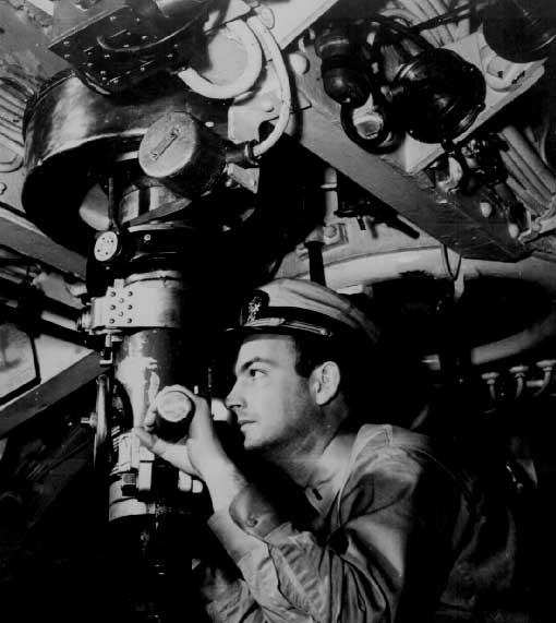 At the periscope of US Submarine WW2 in the Pacific.